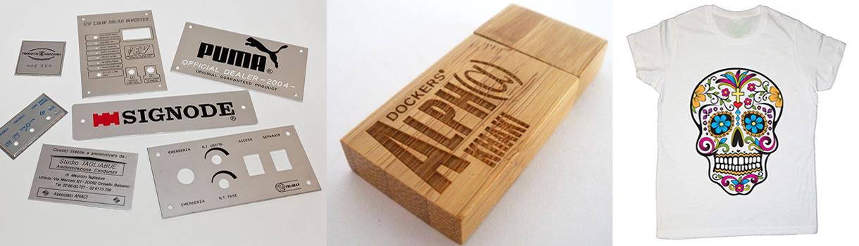 Stampe personalizzate su metallo, legno, tessuto e plastica.